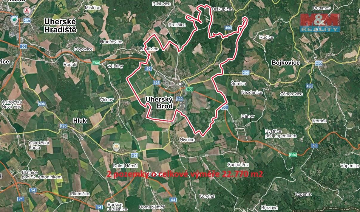 Prodej pole, 22770 m², Uherský Brod