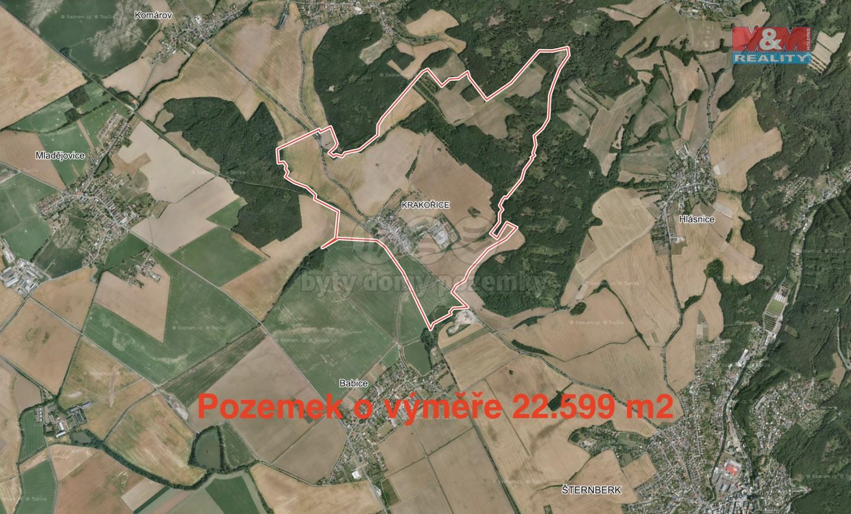 Prodej, pole, 22599 m2, Krakořice