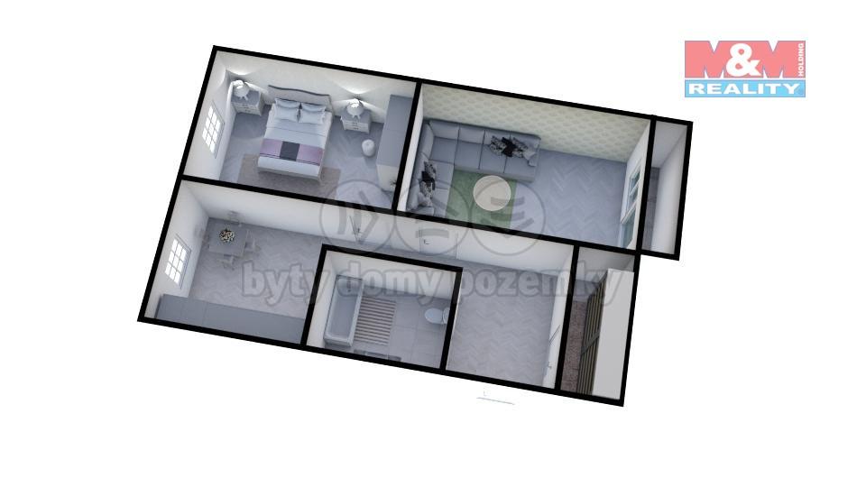 Prodej bytu 2+1, 52m2, DV, Kadaň, ul. Bystřická