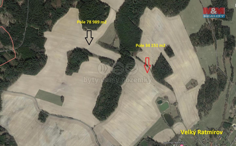 Prodej pole, 113140 m², Velký Ratmírov