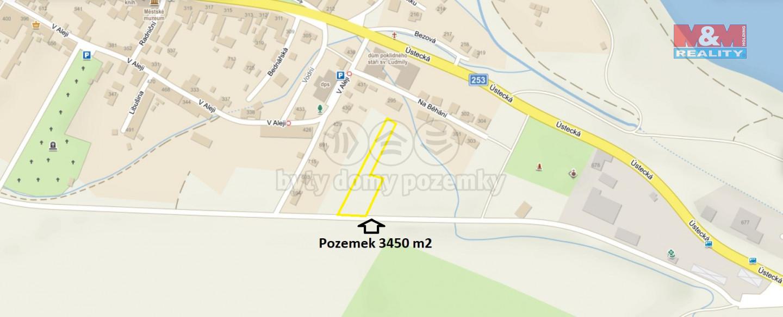 Prodej pozemku k bydlení, 3450 m², Chabařovice