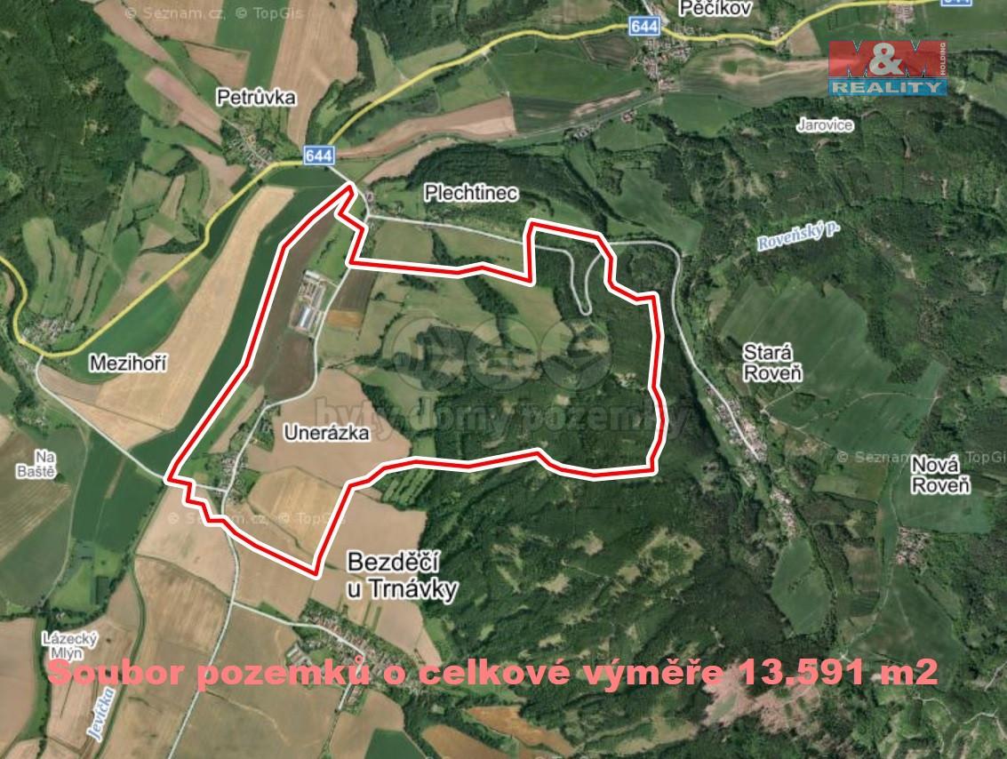 Prodej pole, 13591 m², Unerázka