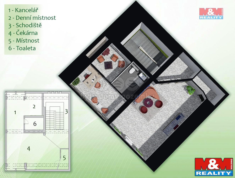 Pronájem kancelářského prostoru, 80 m², Brno, ul. Křídlovická