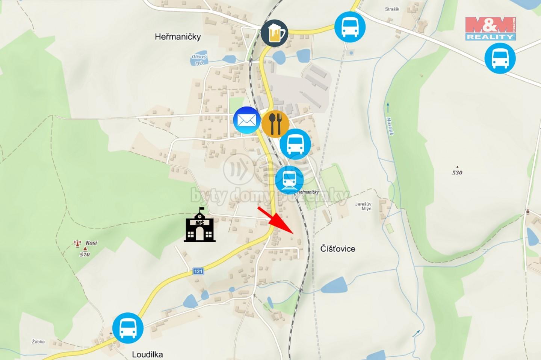 Mapa - prodej pozemku k bydlení, 3175 m², Heřmaničky
