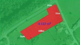 půdorys pozemku (Prodej, stavební pozemek, 4157 m2, Kroměříž, Kostelany), foto 2/5