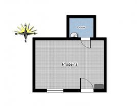 Půdorys (Pronájem, obchodní prostor, 45 m2, Praha 10 - Strašnice), foto 4/5