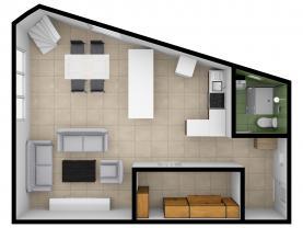 půdorys 3D - přízemí (Prodej, byt 3+kk, 96 m2, Kladno - Rozdělov), foto 4/25
