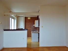 pohled z obývacího pokoje na kuchyňský kout (Prodej, byt 2+kk, 50 m2, DB, Roudnice nad Labem, ul. Čechová)