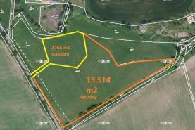 Prodej, stavební parcela, 2765 m², Červeny Dvůr okr.Benešov