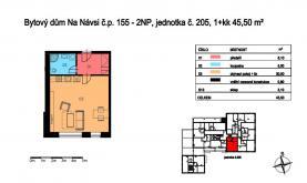 Prodej, 1+kk, 45,50 m2, OV, Svojetice