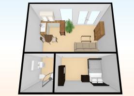 Pronájem, byt 1+kk, 50 m2, Hospozín