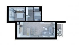 Půdorysné řešení bytu (Prodej, byt 2+kk, 56 m2, OV, balkon, Liberec Františkov), foto 4/9