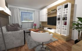 Vizualizace obývacího pokoje (Prodej, byt 3+1, Lovosice, ul. Krátká)