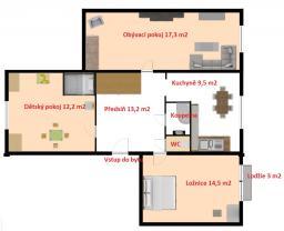 půdorys (Prodej, byt 3+1, 69 m2, OV, Beroun, ul. Pod Homolkou), foto 2/37