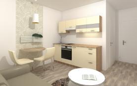 Vizualizace - kuchyňský kout, návrh pokoje (Prodej, byt 2+kk, 53 m², OV, Praha 9 - Prosek), foto 2/4