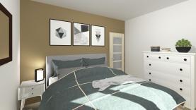 Vizualizace - ložnice, návrh místnosti (Prodej, byt 2+kk, 53 m², OV, Praha 9 - Prosek), foto 3/4