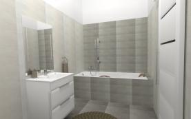 Vizualizace - koupelna, návrh místnosti (Prodej, byt 2+kk, 53 m², OV, Praha 9 - Prosek), foto 4/4