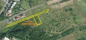 letecký snímek se zákresem (Prodej, stavební parcela, 800 m2, Litvínov), foto 3/22