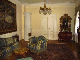 zvýšené přízemí, velký salon 1 (Pronájem, atypický byt, 5+kk, Praha, 234 m2, ul. Mezibranská), foto 2/36