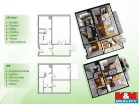 Půdorys obou pater (Prodej, rodinný dům, 667 m2, Litvínov, ul. K Loučkám), foto 3/31