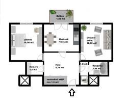 2D plán bytu 2+1 v ulici Novodvorská (Prodej, byt 2+1, 70 m2, Praha 4 - Braník, ul. Novodvorská), foto 3/21