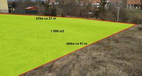 (Prodej, stavební pozemek, 1099 m2, Lhota, Vyškov)