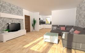 Vizualizace obývací pokoj (Prodej, byt 3+kk, 175 m2, Praha 6 - Suchdol, ul. Holubí), foto 4/25