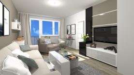 Vizualizace - obývací pokoj (Prodej, byt 3+1, 69 m², OV, Praha 4 - Lhotka), foto 3/11