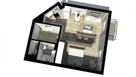 Vizualizace - půdorys 3D (Prodej, byt 1+kk, 48 m2, Praha 5, ul. Wiedermannova), foto 3/13