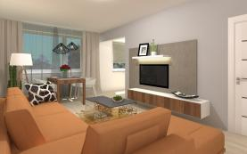 Vizualizace obývací pokoj (Prodej, byt 2+1, 66 m2, Praha 4 - Háje, ul. Starobylá), foto 4/18