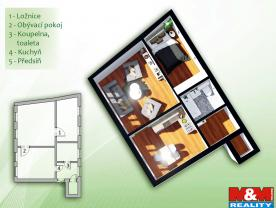 Prodej, byt 2+1, 56 m2, OV, Jablonec nad Nisou, ul. Slunečná