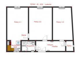 Pronájem, byt 3+1, 60 m², Praha, ul. Klimentská