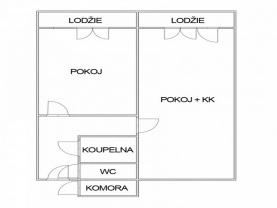 Půdorys.jpg (Pronájem, byt 2+kk, 45 m², Litoměřice, ul. Marie Majerové), foto 4/6